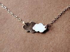 Tiny Sterling Silver Cloud Necklace Handcrafted Silver