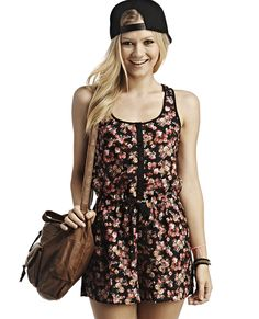 Floral Button-Front Romper | Wet Seal