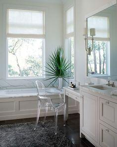 Wayne Windham Architect - bathrooms - Ghost Chair, French Deco Horn Sconce, tub under window, tub below window, bath under window, bath belo...