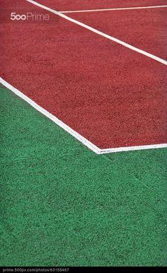 Gravel tennis playground - stock photo