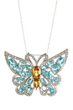 Apetite, Citrine,  White Diamond Butterfly Pendant Necklace