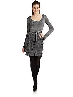 BCBGMAXAZRIA - Cassie Ruffled Knit Dress