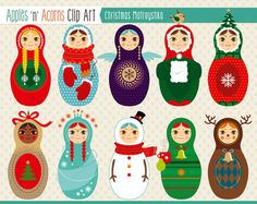 Christmas Matroyshka Russian Dolls Clip Art - color and outlines