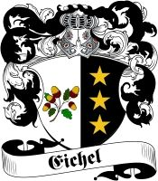 Eichel Coat of Arms / Family Crest .. Visit our website at www.4crests.com for lots of great products featuring this family coat of arms.  We carry glassware, rings, plaques, flags, prints, jewelry and hundreds of other Crest products. #coatofarms #familycrest #familycrests #coatsofarms #heraldry #family #genealogy #familyreunion #names #history #medieval #codeofarms #familyshield #shield #crest #clan #badge #tattoo #jewelry #crafts #scrapbooking #scrapbook