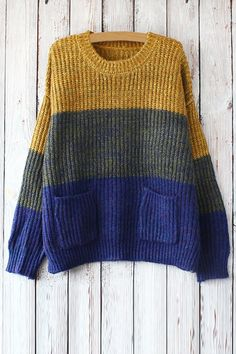 Color Block Pockets Long Sleeves Sweater