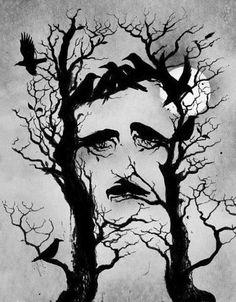 Ravens portrait of EA Poe.