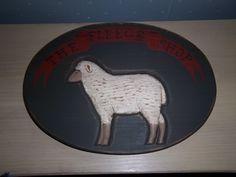 Karen Hill~Primitive Wood Handcarved Sheep Sign~Folk Art~1985 #KarenHill