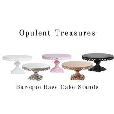 Classically elegant cake stands in gold, silver black, white and pink for all your dessert table needs!! Buy authentic from the original!! Please use Pinterest20 🌙 Wedding Sweets, Masquerade Party, Elegant Cakes, Wedding Website, Home Decor Styles, Wedding Vendors, Baroque, Cake Stands, Wedding Decorations