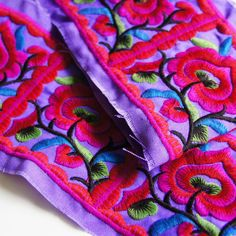 Trim By Metre Purple Red Hmong Embroidered Fabric trim ribbon 100mm, Ethnic Trim ribbon, Tribal boho, Fair Trade by Hmong Hill Tribe by EarthIndigoFabric on Etsy