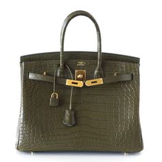 Hermes Birkin Bag 35 Matte Alligator Vert Veronese Gold Hardware | World's Best #hermes