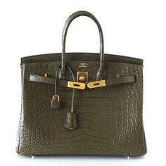 Hermes Birkin Bag 35 Matte Alligator Vert Veronese Gold Hardware f89b039d9904f