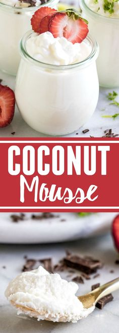 This fluffy coconut mousse comes together quick and easy and is loaded with a cold, creamy coconut flavor! Top with your favorite toppings and it's the perfect summer dessert!