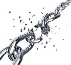 What do you see when you look at this image? 1. It took a very strong person to break this chain? 2. The chain was weak to begin with and broke at it's weakest point?