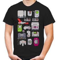 8 Bit Konsolen T-Shirt   Game Boy   Super Nintendo   SNES...