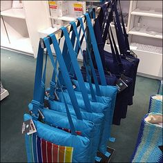 Once again plated chrome with a subdued Gunmetal look outfit this Martha Stewart Blanket Tote T-Stand presentation. Ocean blue overall, rainbow-like stripes Retail Fixtures, Store Fixtures, Visual Merchandising, Martha Stewart, Hooks, Chrome, Stripes, Shape, Blanket