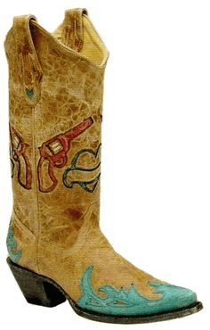 Corral Boots: Ladies Antique Saddle/Turquoise Hearts And Pistols