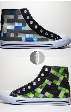 deviantART: More Like Minecraft Diamond Custom High Tops by *OddlyIndie Minecraft Shoes, Minecraft Outfits, All Minecraft, Minecraft Party, Minecraft Clothes, Minecraft Crafts, Boy Outfits, Cute Outfits, Painted Shoes