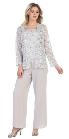 Fashion 8850 Silver Pant Set Includes Jacket and Top Sally Fashion 8850 Silver Pant Set Includes Jacket and Top – DiscountDressShopSally Fashion 8850 Silver Pant Set Includes Jacket and Top – DiscountDressShop Mother Of The Bride Trouser Suits, Mother Of Bride Outfits, Mother Of Groom Dresses, Mothers Dresses, Dressy Pant Suits, Navy Suits, Chiffon Pants, Lace Tops, Special Occasion Dresses