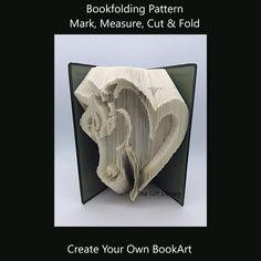 Cut and Fold Book Folding Pattern~Horse head heart