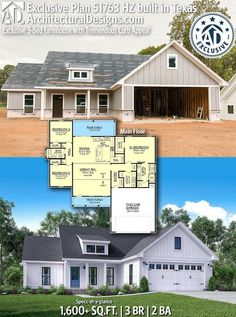 54 ideas farmhouse architecture life for 2019 Ranch House Plans, Bedroom House Plans, New House Plans, Dream House Plans, Small House Plans, House Floor Plans, Architecture Life, Farmhouse Architecture, Small Farmhouse Plans
