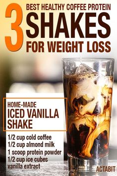 These top 3 iced coffee protein shake recipes for weight loss are low in sugars but high in protein and nutrients to help you burn fat and lose weight fast. #Coffeedrinks Coffee Shop Music, Coffee Break, Coffee Maker, Coffee Percolator, Coffeemaker