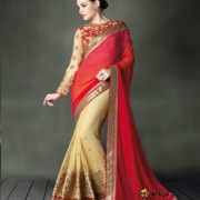 Beautiful bridal saree in Red and cream with heavy embroidery blouse.    $106.93