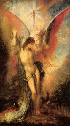 Gustave Moreau - St. Sebastian and the Angel (1876)  GUSTAVE MOREAU (1826-1898) – One of the key figures of symbolism, introverted and mysterious in life, but very free and colorful in his works.