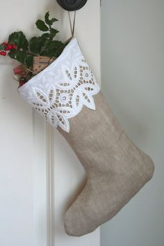 This listing is for ONE stocking. Natural beauty and vintage textile are two aspects I love to combine in my stocking creations.