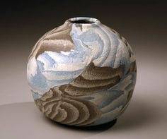 """Small globular vessel with inlays of white, blue, and brown clays and sand treated surface ca. 1986 Stoneware with colored clay inlays 5 3/4 x 5 1/2"""" Inv# 5348 SOLD Image"""