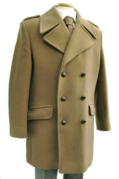 Men's 1970s Danimac Wool Camel Peacoat Overcoat