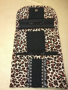 Leopard fabric wallet open