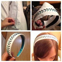 Baseball Inspired Headband upgrade craft! Click for the DIY tutorial.