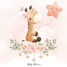 Watercolor Flower Background, Gold Watercolor, Giraffe Illustration, Watercolor Illustration, Doodles Bonitos, Cartoon Giraffe, Giraffe Family, Little Giraffe, Donia