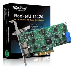 HighPoint 2 External and 2 Internal Ports USB 3.0 PCI-Express 2.0 x4 Card Up to 20Gb/s Transfer Bandwidth Components RocketU 1142A by HighPoint. $99.00. The RocketU 1142A is the industry's first 20Gb/s Hybrid USB 3.0 HBA. The unique hybrid port configurations allows you to add USB 3.0 front panel support to your PC, while providing 2 standard Type-A ports that support a variety of external devices including USB 3.0 hard drives, SSD, enclosures and docking bays. Support...