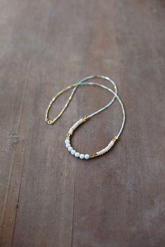 Mixed Media Boho Necklace /  Mint Gold  Light Necklace /