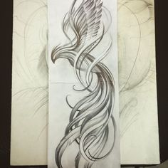 Love this Phoenix! I would color it in subdued tones with pops of fire Tattoo Calf, Tattoo Line, Tattoo Thigh, Neue Tattoos, Body Art Tattoos, Tattoo Drawings, Tatoos, Wrist Tattoos, Phoenix Design