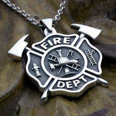 Diamond Bar Necklace, Men Necklace, Pendant Necklace, Necklace Charm, Diamond Jewelry, Maltese Cross Firefighter, Firefighter Boyfriend, Firefighter Decor, Firefighter Apparel