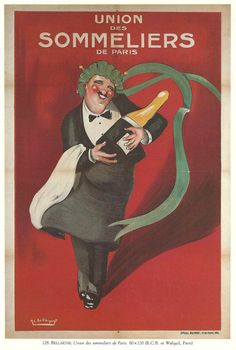 Vintage French Wine Posters   Antique French WINE advertisement poster - sommelier 1920s