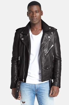 BLK DNM 'Leather Jacket 5' Leather Moto Jacket available at #Nordstrom
