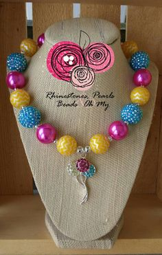 Chunky Bling Balloon Necklace Bubble Gum Beads Birthday