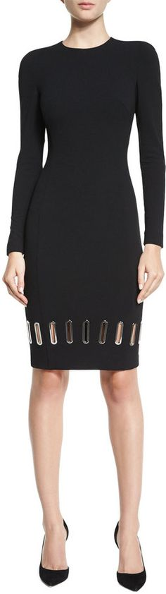 Stylish black dress, Versace Collection Long-Sleeve Metal Eyelet Sheath Dress
