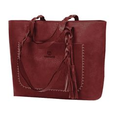 Braid Tassels Whipstitch Tote Bag Red (81 PEN) ❤ liked on Polyvore featuring bags, handbags, tote bags, zaful, tote purses, tote handbags, tote bag purse, red tote handbags and woven tote