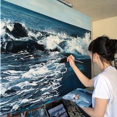 Self Taught Artist Shares Stunning Process Behind Her - Self Taught Artist Shares Stunning Process Behind Her Remarkable Paintings And Drawings By Kristine Mitchell On July Self Taught Artist Andreea Berindei Has Honed Her Painting And Drawing Ski Amazing Paintings, Amazing Art, Wave Paintings, Realistic Paintings, Ocean Art, Art Techniques, Art Day, Painting & Drawing, Art Drawings