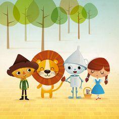 Wizard of Oz art print illustration kids room by IreneGoughPrints