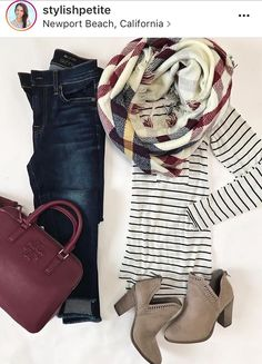 Love this look, but would rather have a waist-cinching vest than a bulky scarf to go with the jeans I already have. Bag & booties are awesome too!