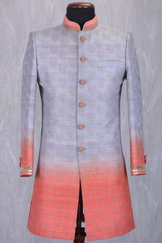 Grey & Peach Raw Silk Zardosi Embroidered IndoWestern Sherwani-IW904 Mens Indian Wear, Mens Ethnic Wear, Indian Groom Wear, Hot Men, Hot Guys, Dress Card, Sherwani, Kids Fashion, Womens Fashion