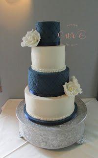 White Rose Cake Design  Navy and ivory wedding cake  www.whiterosecakedesign.com