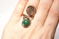 Wire wrap ring-copper ring-jade ring-adjustable by BeyhanAkman
