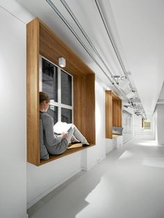 Netlife Research by Eriksen Skajaa Architects. Always wanted a window seat. Architecture Design, Interior And Exterior, Interior Design, Commercial Interiors, Office Interiors, Windows And Doors, New Homes, House Design, House Ideas