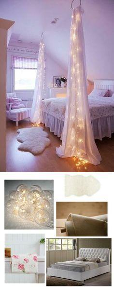 Feminine teen girl's bedroom with string lights | #adoredecor